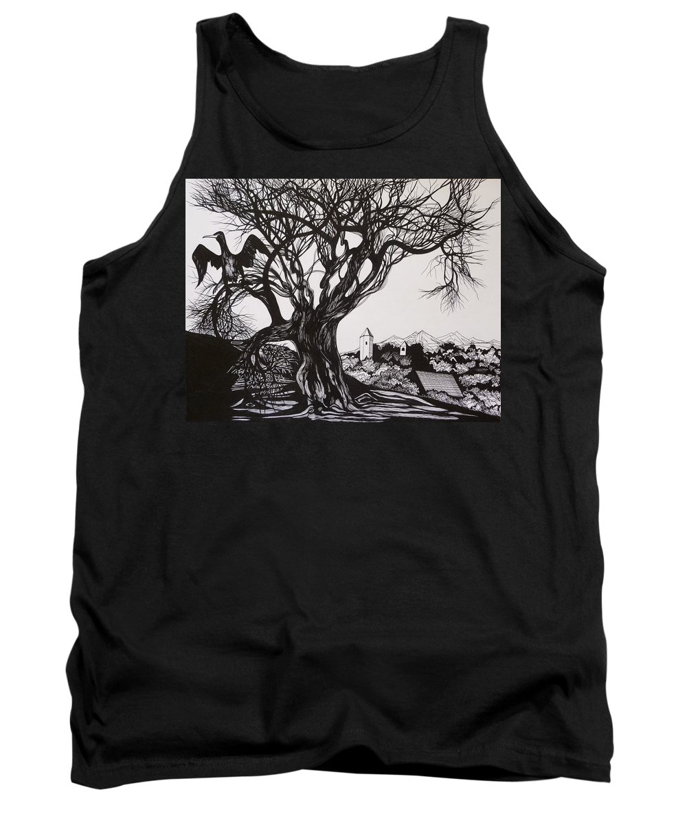Pen And Ink Tank Top featuring the drawing Evening In Midnapore by Anna Duyunova