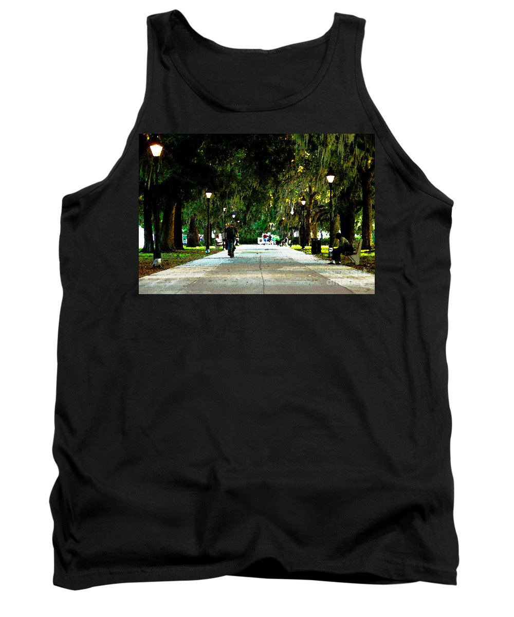Savannah Georgia Tank Top featuring the painting Evening In The Park by David Lee Thompson