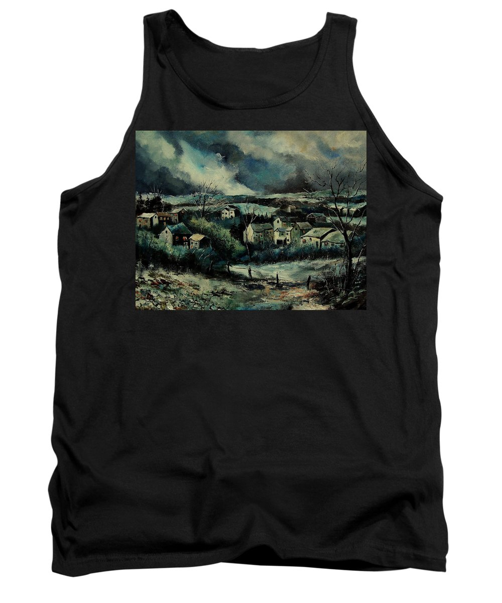 Village Tank Top featuring the painting Evening Is Falling by Pol Ledent