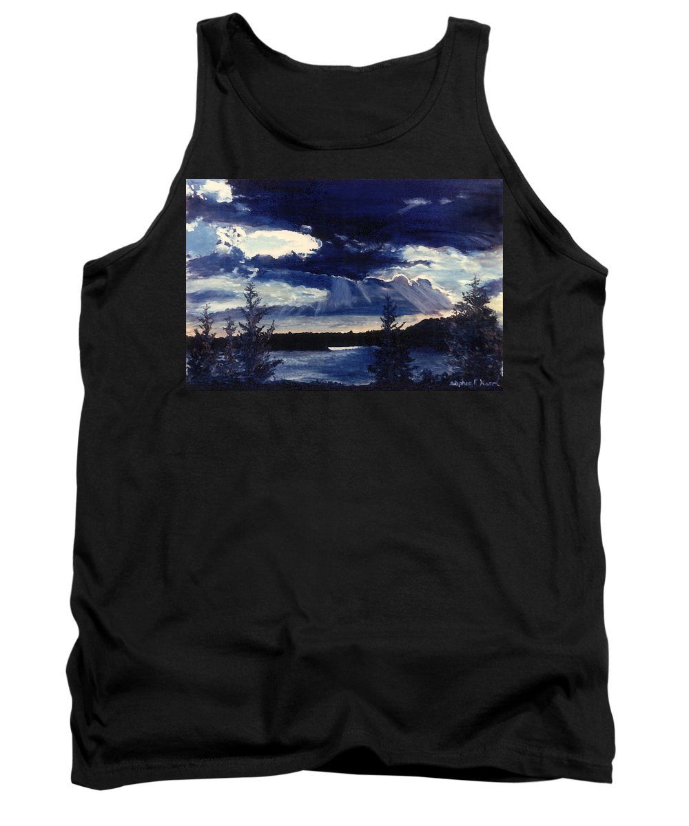 Landscape Tank Top featuring the painting Evening Lake by Steve Karol