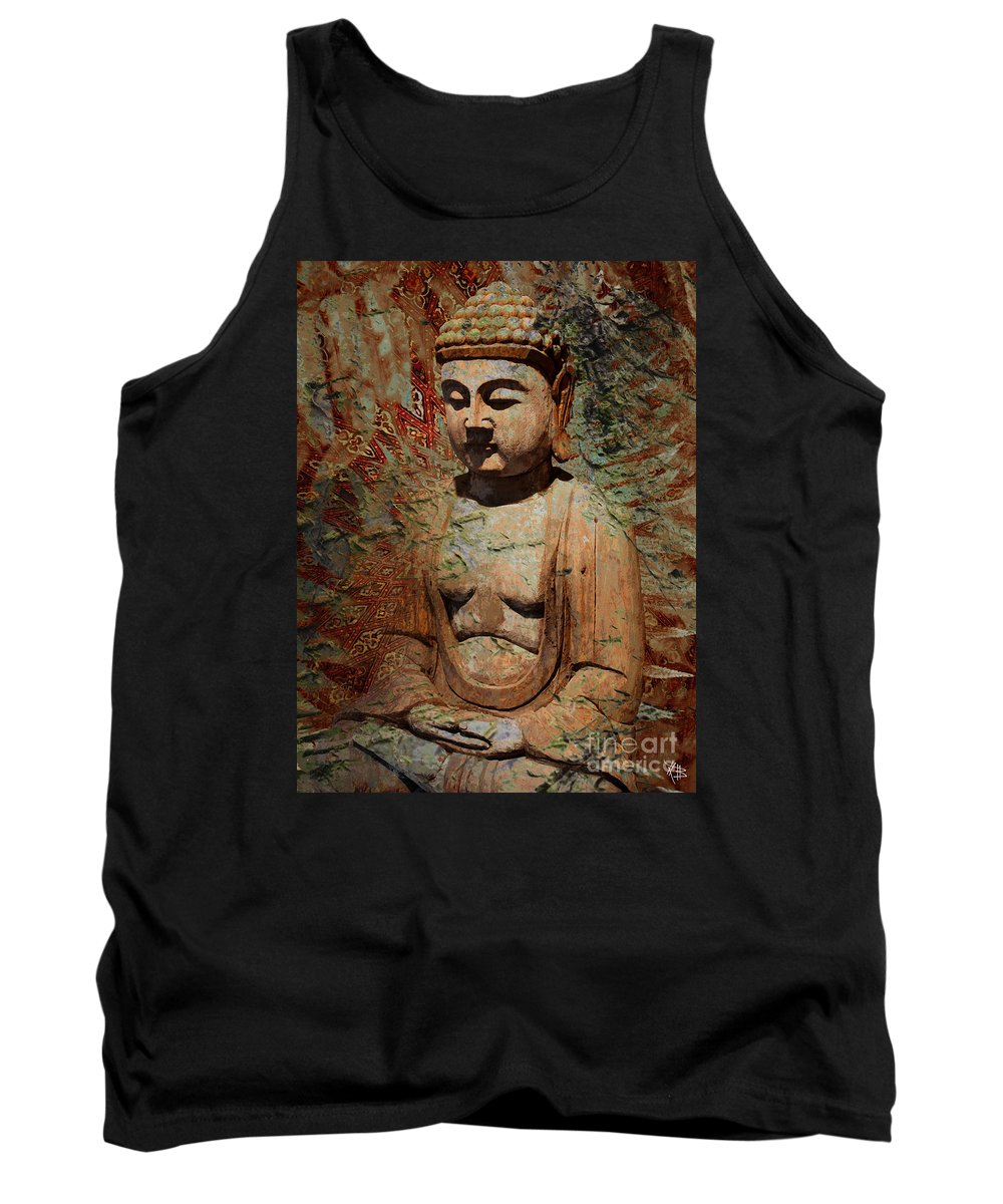 Buddha Tank Top featuring the painting Evening Meditation by Christopher Beikmann