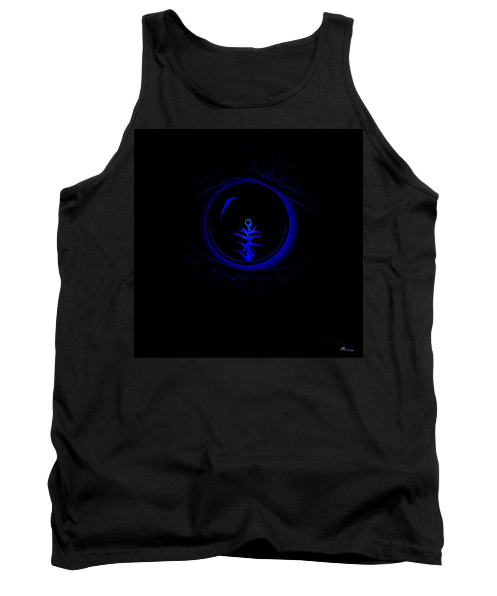 Eye Blue Abstract Different Black Orb Visual Tank Top featuring the digital art Eye Wonder by Andrea Lawrence