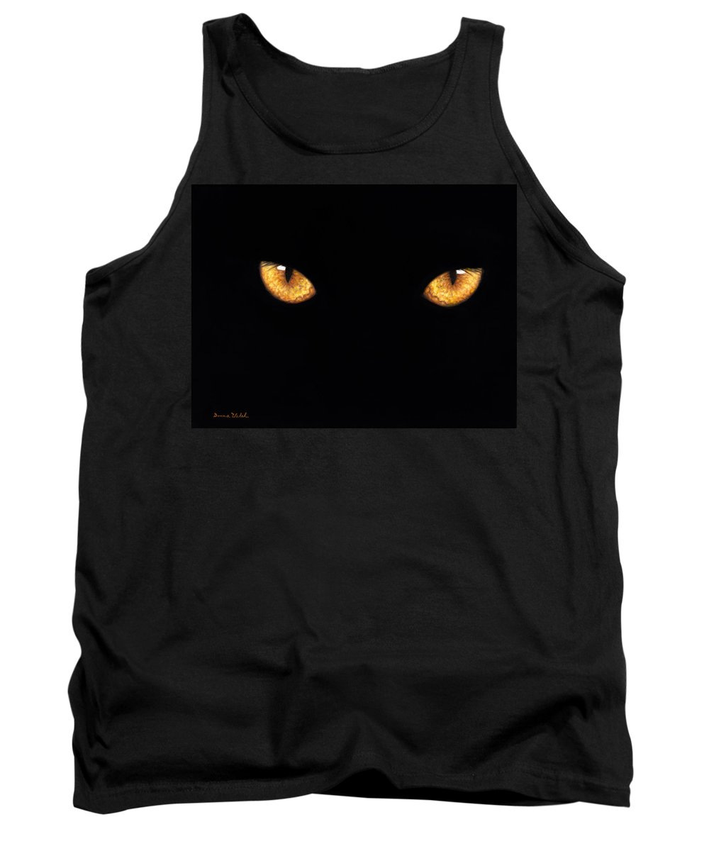 Panther Tank Top featuring the painting Eyes In The Night Oil.jpg by Donna Hillman Walsh