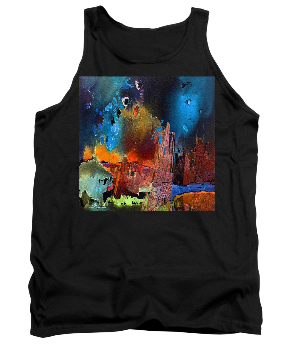 Fantasy Tank Top featuring the painting Face Dances by Miki De Goodaboom