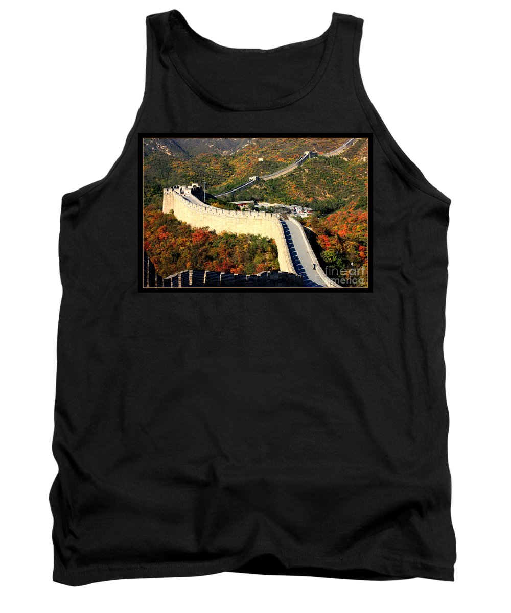 The Great Wall Tank Top featuring the photograph Fall Foliage At The Great Wall by Carol Groenen