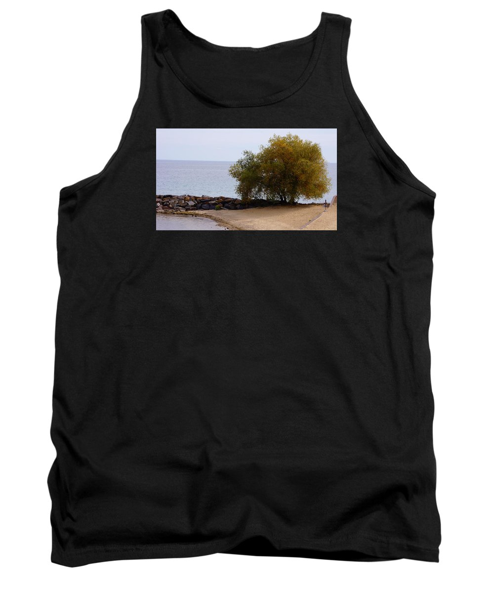 Fall Tank Top featuring the photograph Fall Lake Tree by Brooke Bowdren