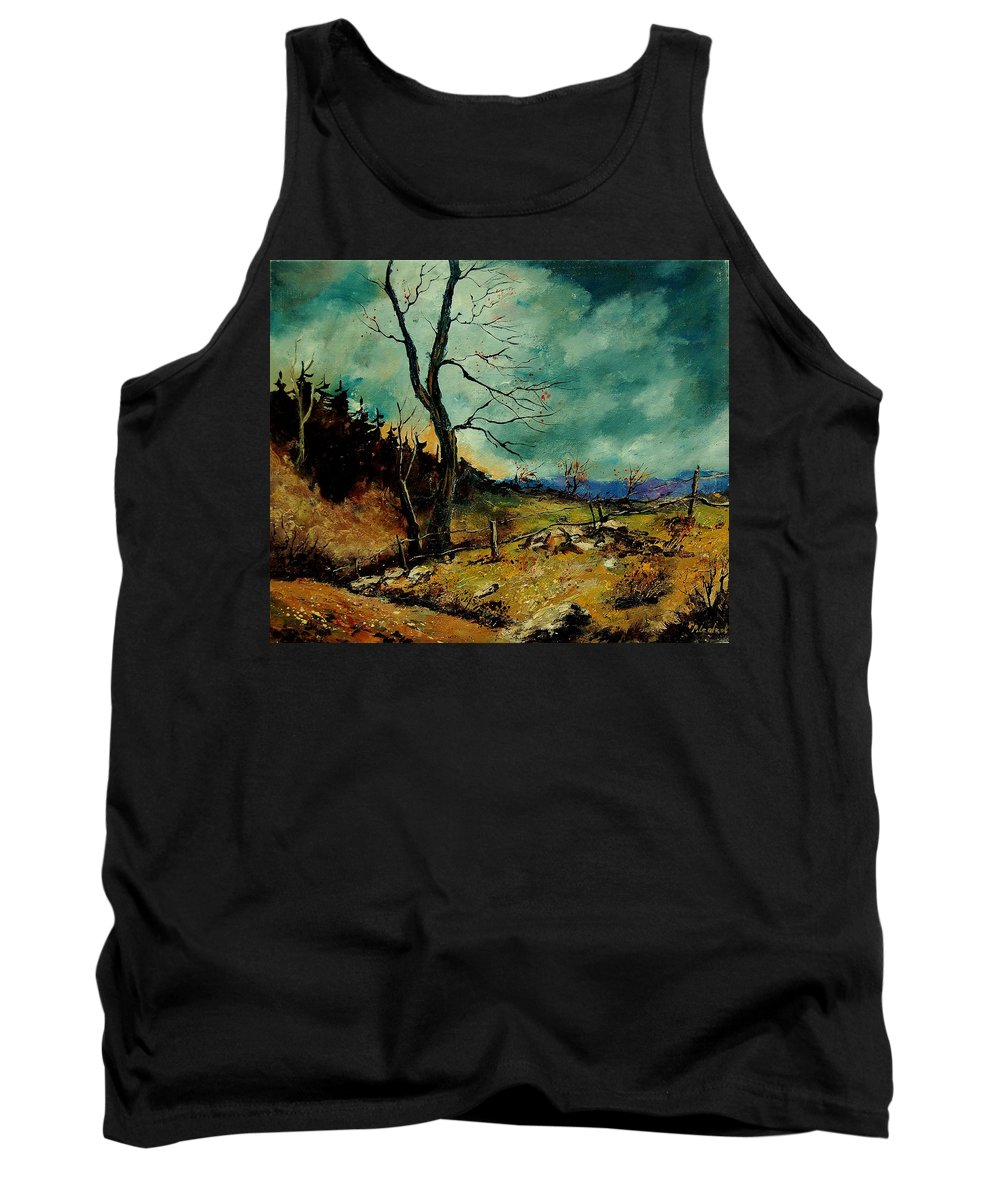 Tree Tank Top featuring the painting Fall Landscape 56 by Pol Ledent
