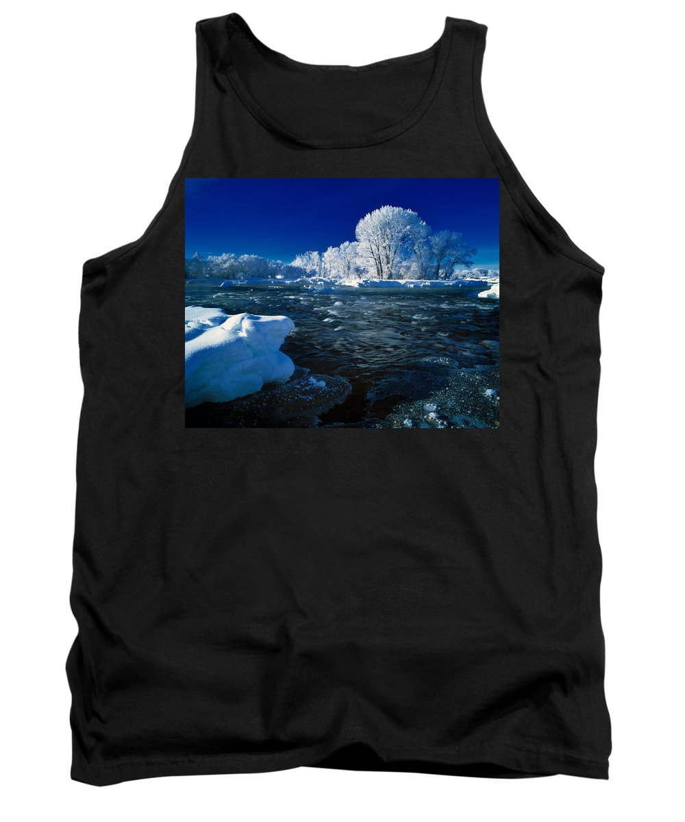 Winter Tank Top featuring the photograph Fall River Winter by Leland D Howard