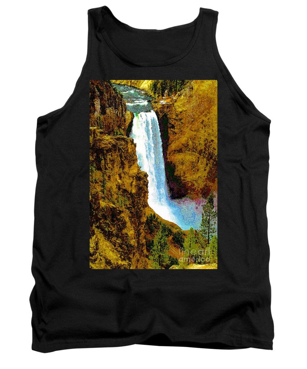 Yellowstone National Park Tank Top featuring the painting Falls Of The Yellowstone by David Lee Thompson