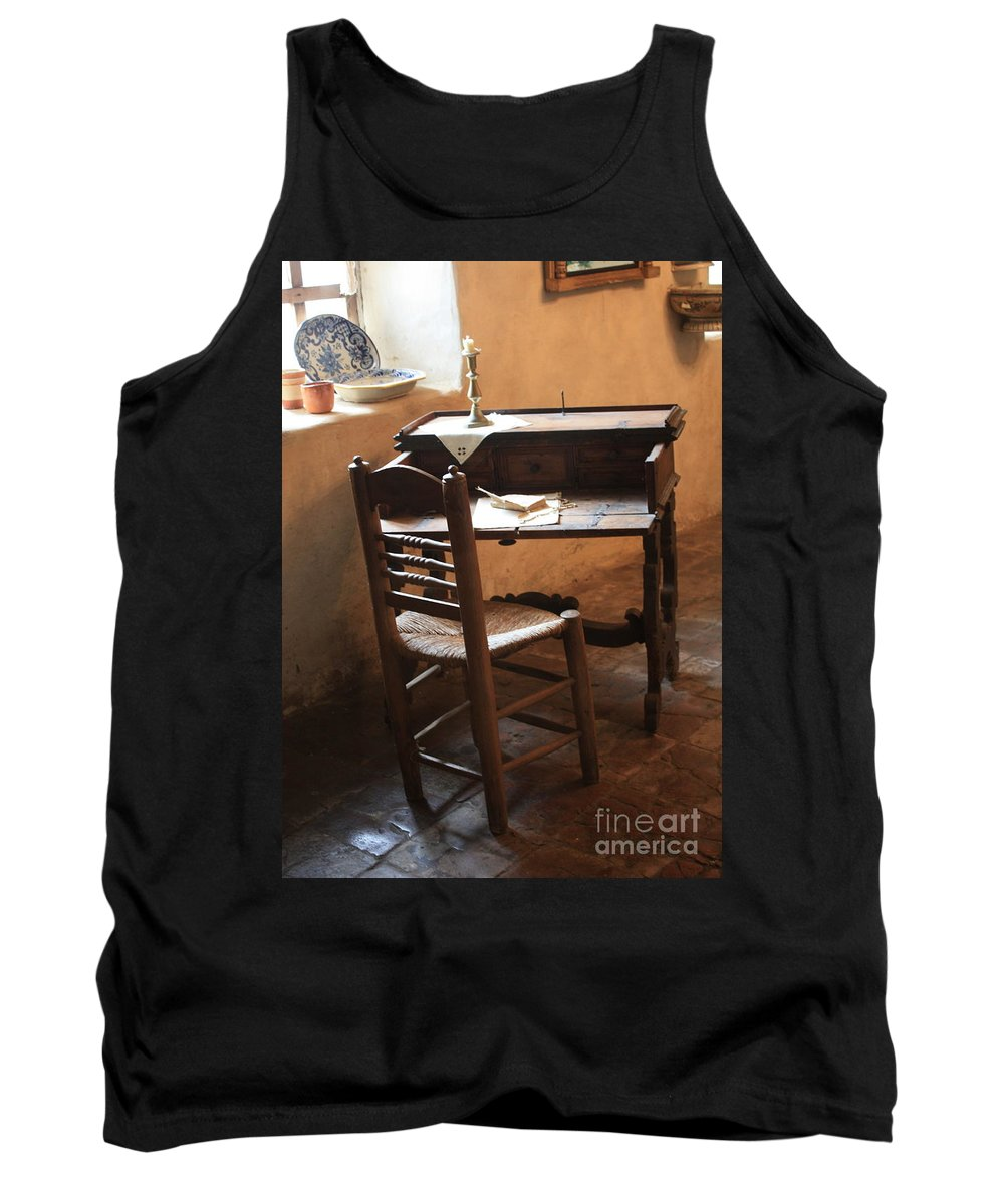 Carmel Mission Tank Top featuring the photograph Father Serra's Desk by Carol Groenen