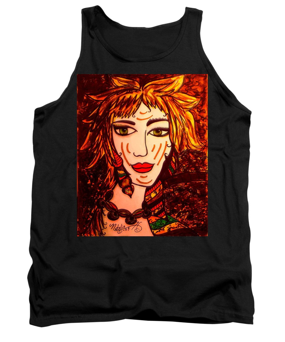 Woman Tank Top featuring the painting Female Animal by Natalie Holland
