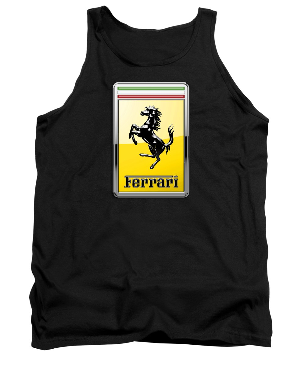 �auto Badges� Collection By Serge Averbukh Tank Top featuring the photograph Ferrari 3D Badge- Hood Ornament on Black by Serge Averbukh