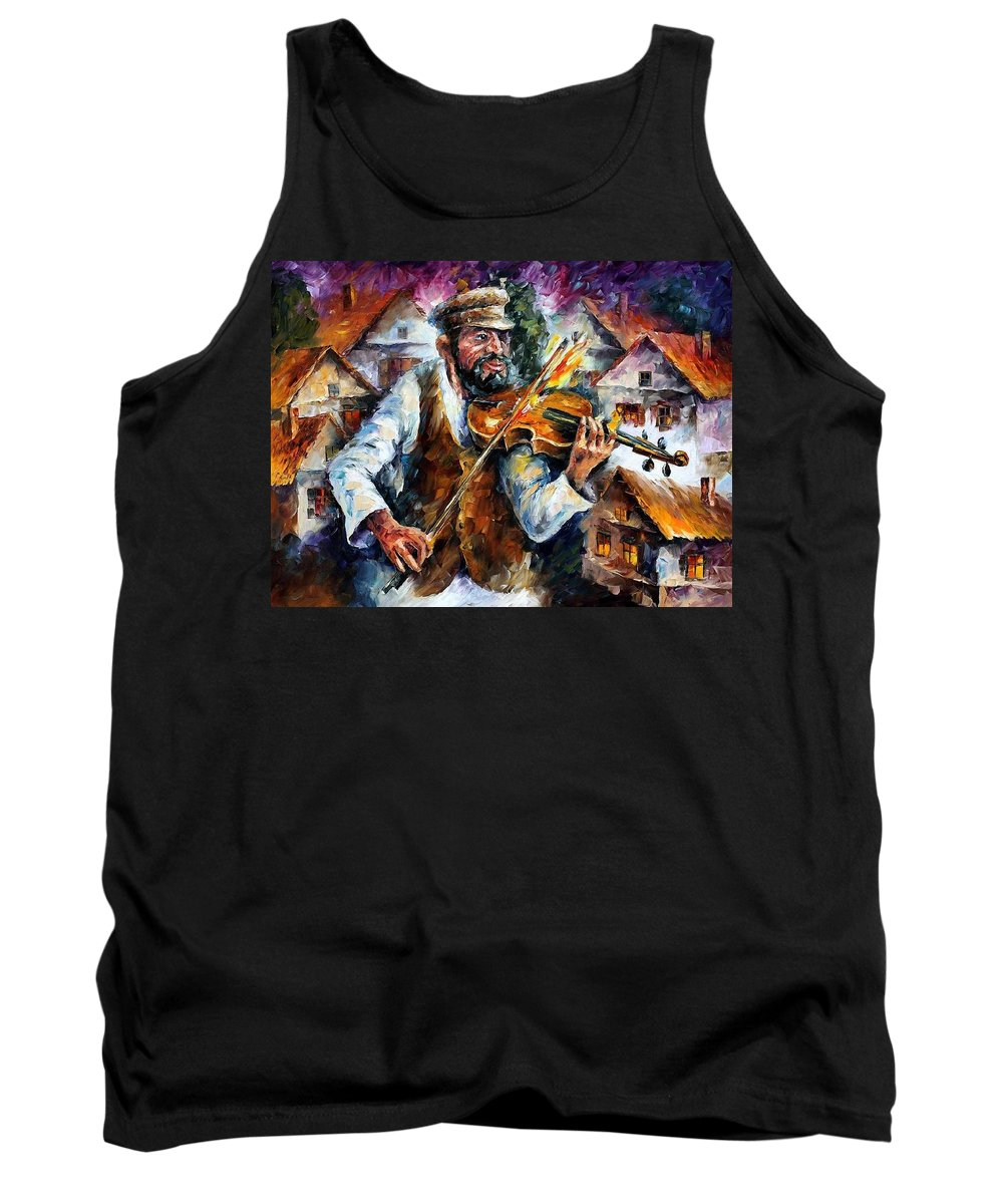 Judiac Tank Top featuring the painting Fiddler From The Sky by Leonid Afremov