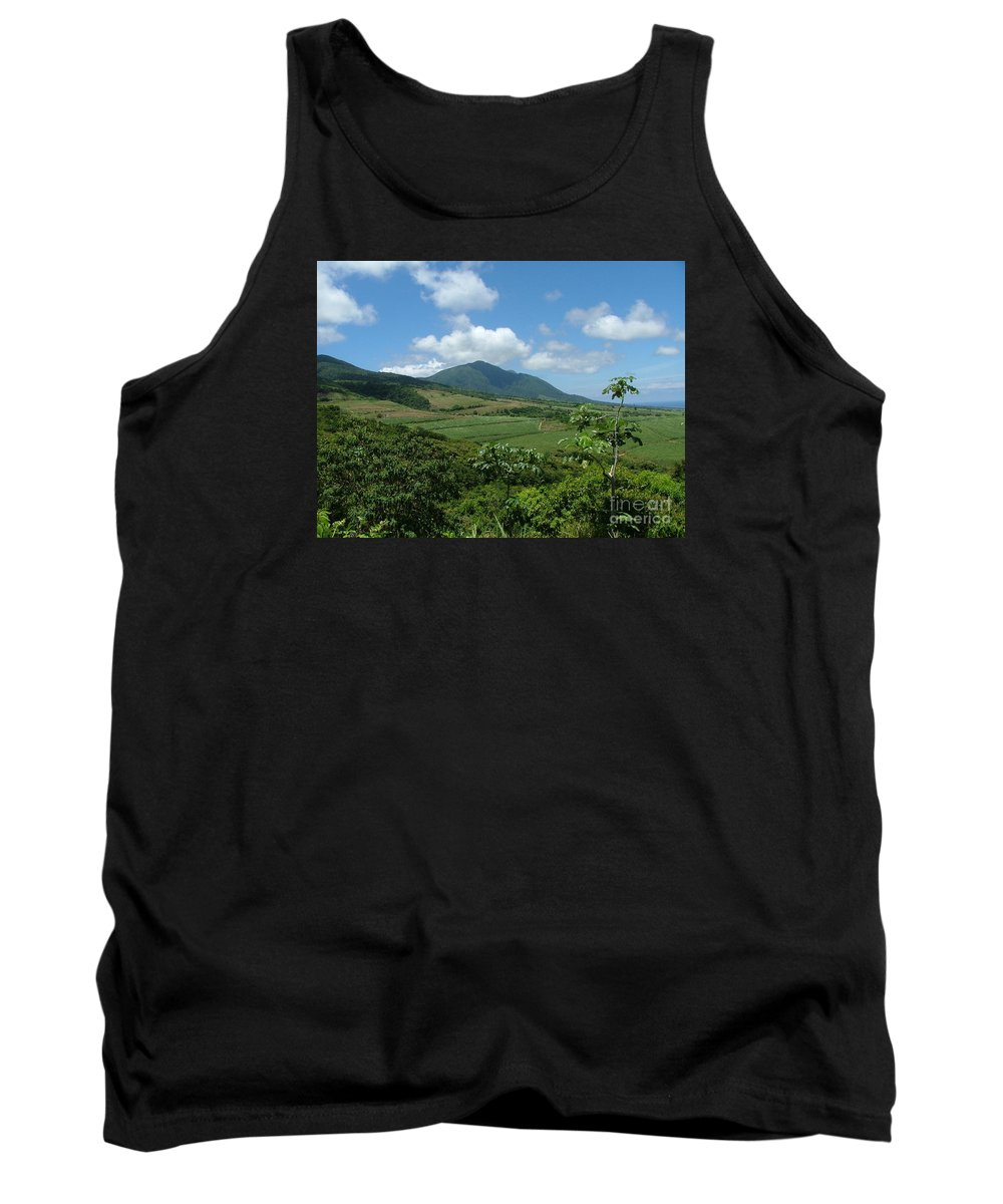 Surgar Cane Tank Top featuring the photograph St. Kitts Fields Of Cane by Neil Zimmerman