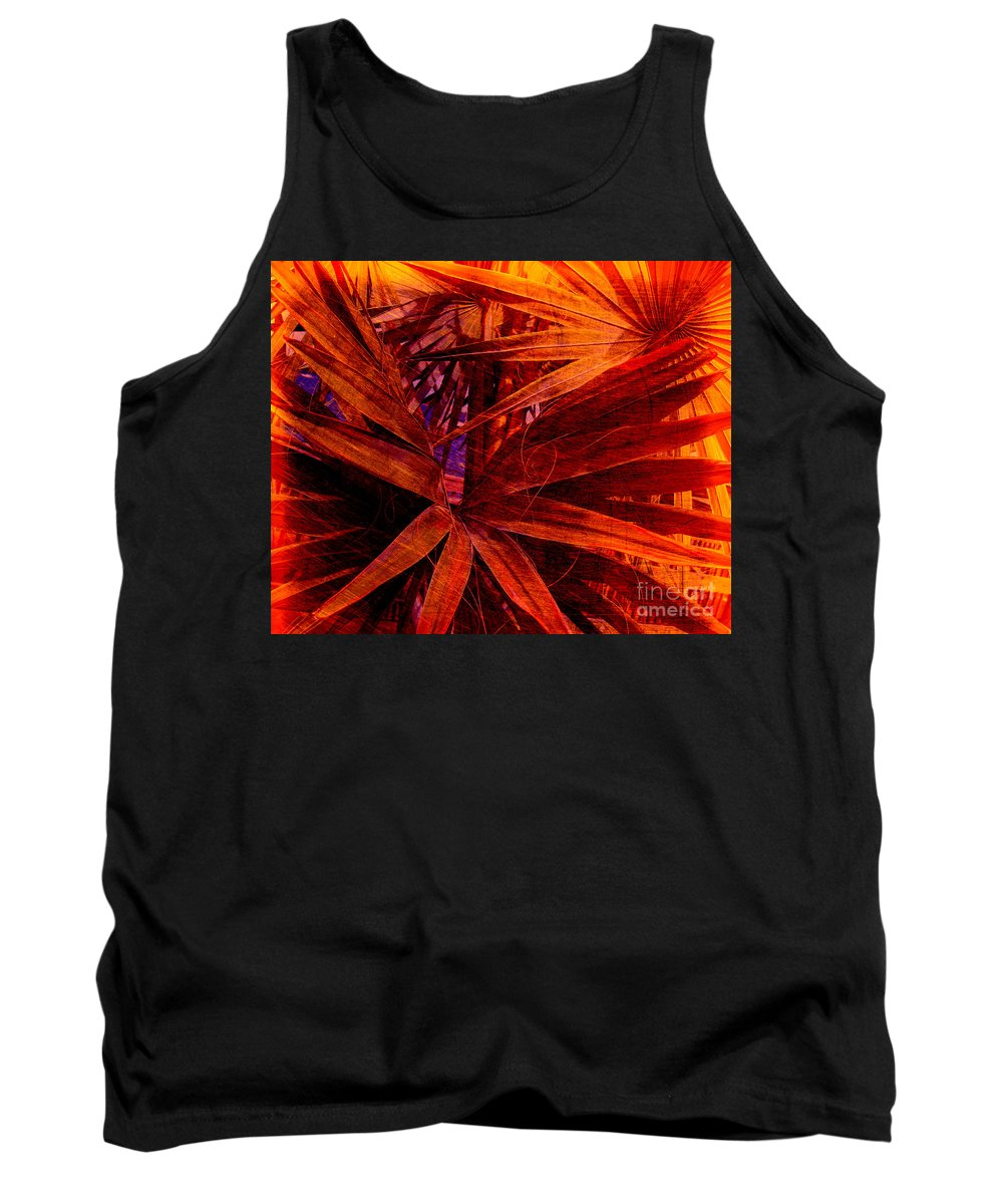 Palm Tree Tank Top featuring the photograph Fiery Palm by Susanne Van Hulst