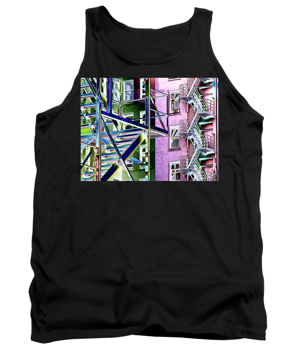 Fire Tank Top featuring the digital art Fire Escape 2 by Tim Allen