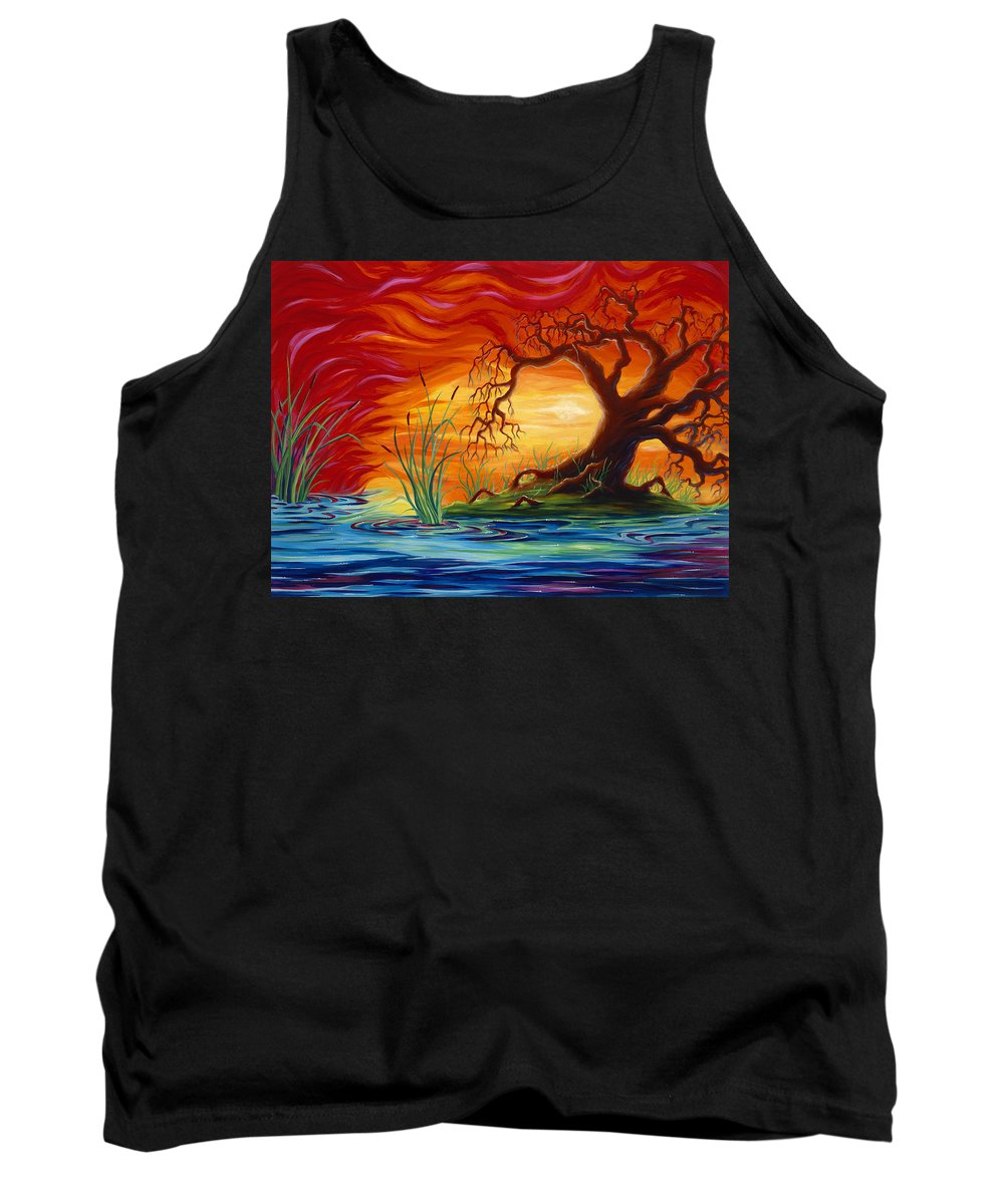 Tree Tank Top featuring the painting Fire in the Sky by Jennifer McDuffie