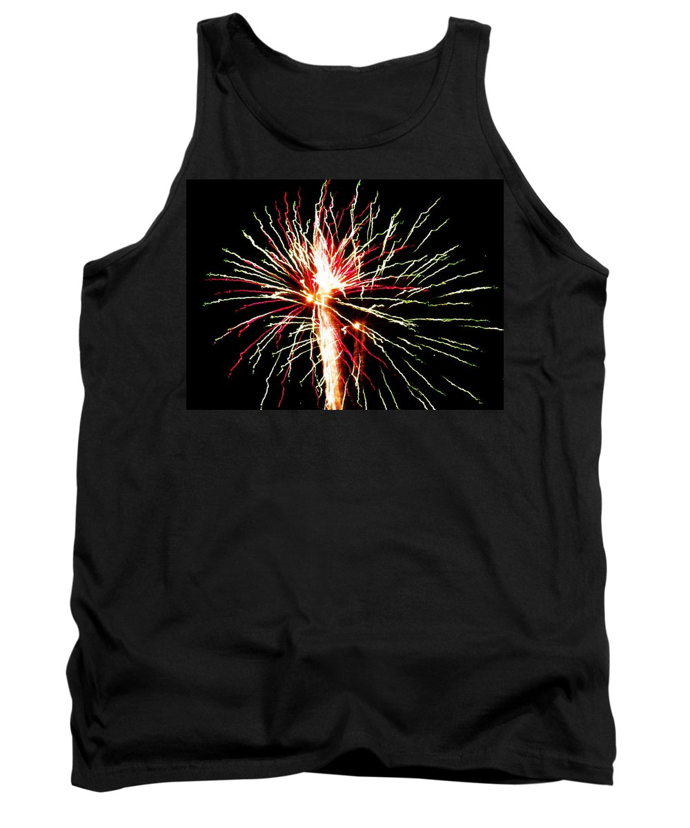 Fireworks Tank Top featuring the photograph Firework Pink And Green Streaks by Adrienne Wilson
