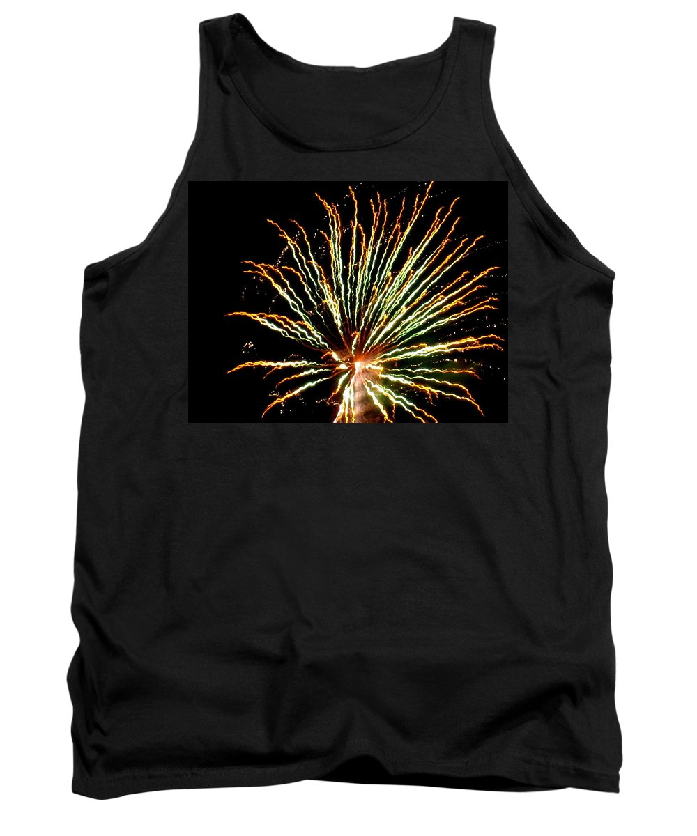 Fireworks Tank Top featuring the photograph Firework Yellow Tip by Adrienne Wilson