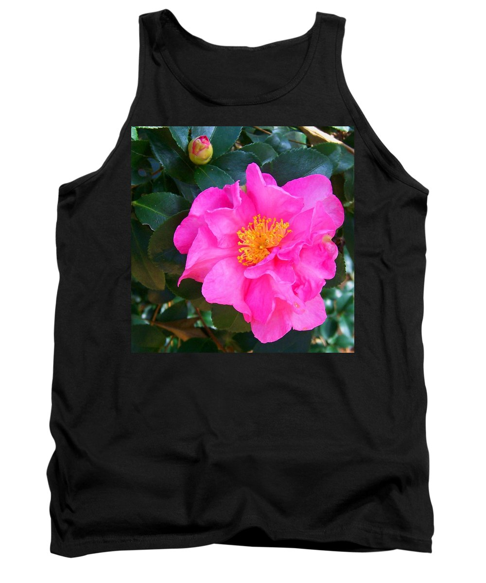 Camelia Tank Top featuring the photograph Firey Pink Camelia by Laurie Paci