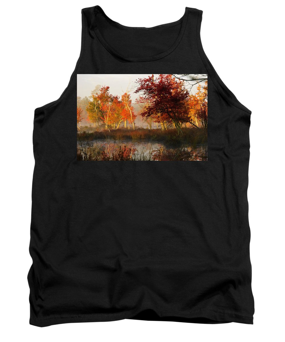 Landscape Tank Top featuring the photograph First Light At The Pine Barrens by Louis Dallara