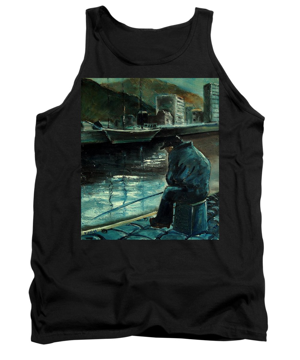 Figurative Tank Top featuring the painting Fisherman's Patience by Pol Ledent