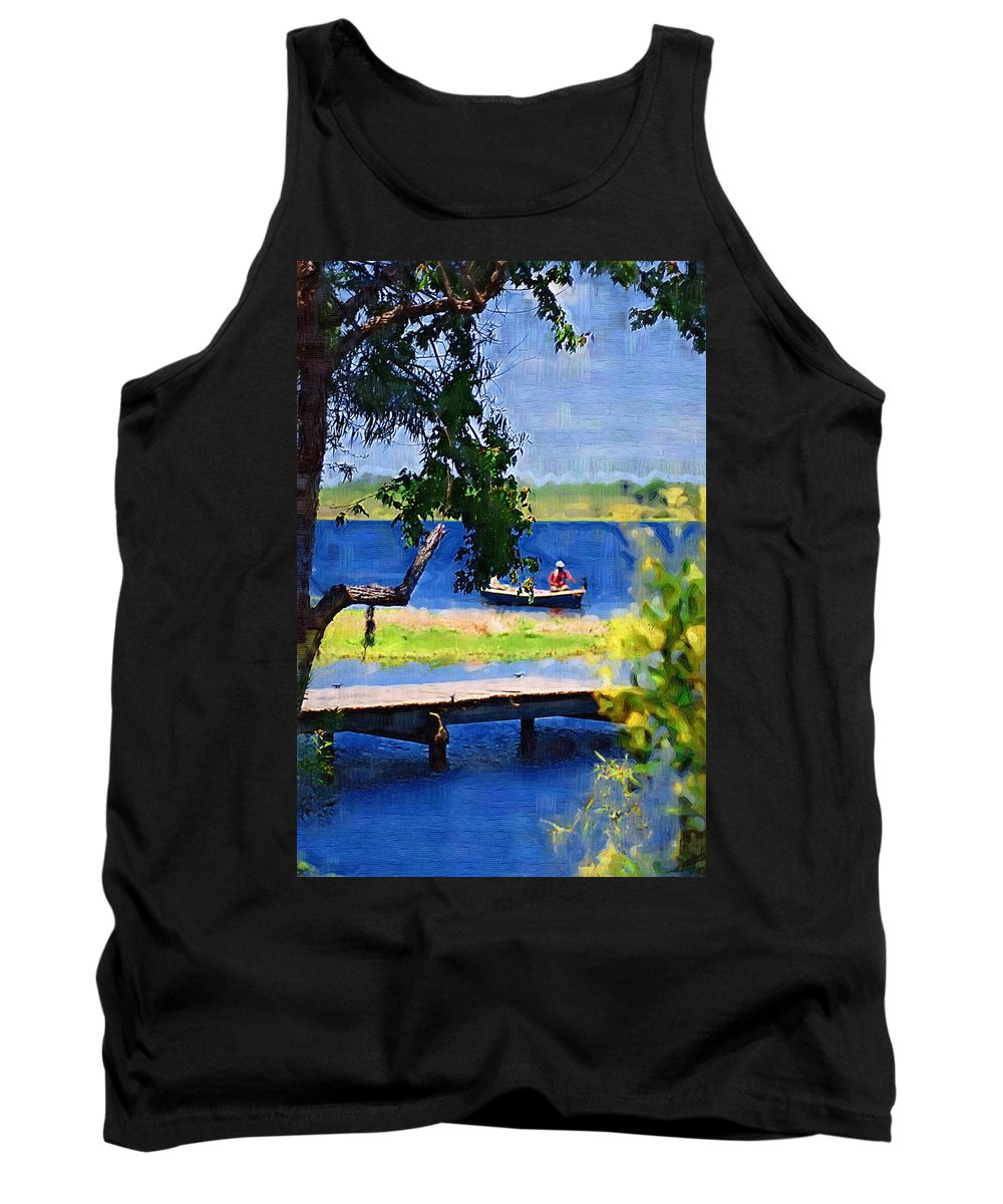Ponds Tank Top featuring the photograph Fishin by Donna Bentley
