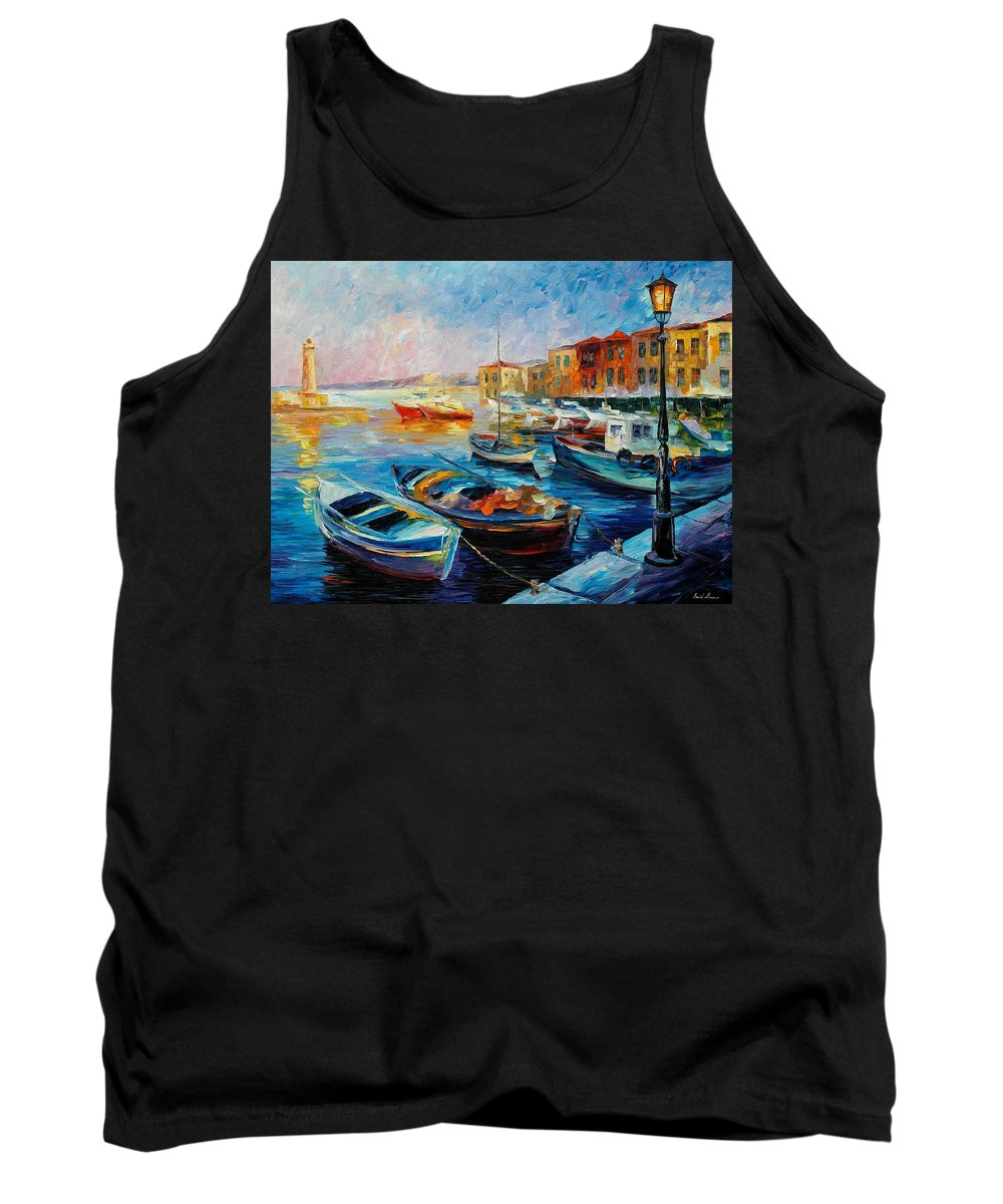 Afremov Tank Top featuring the painting Fishing Boats by Leonid Afremov