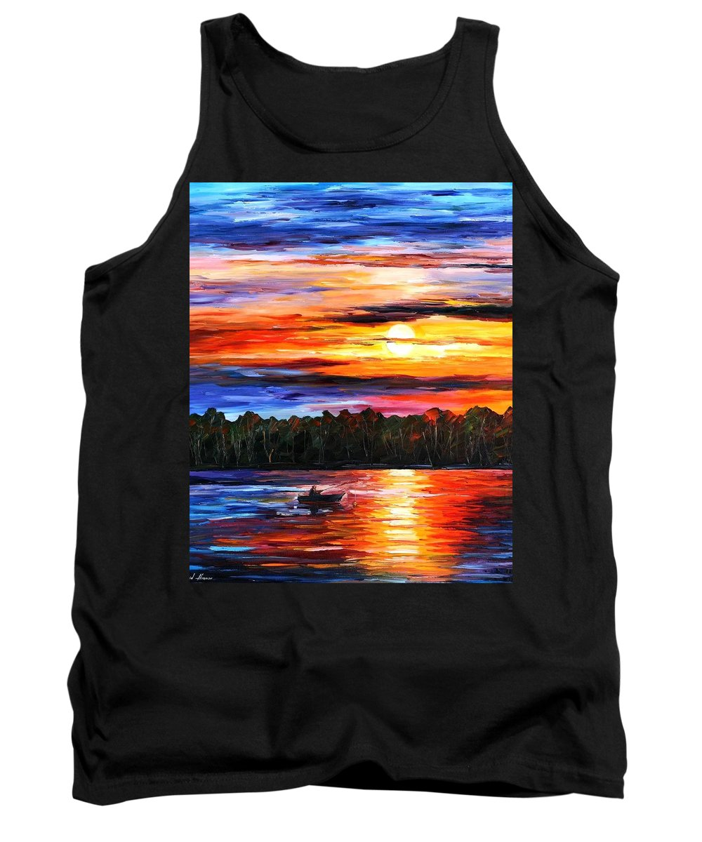 Seascape Tank Top featuring the painting Fishing By The Sunset by Leonid Afremov