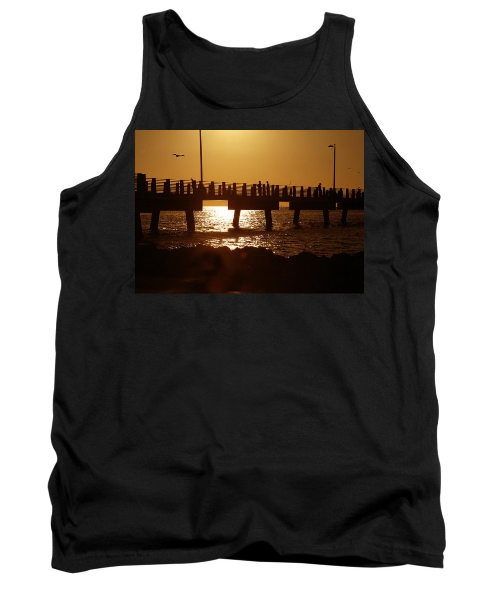 Fort De Soto Tank Top featuring the photograph Fishing Off The Pier At Fort De Soto At Dusk by Mal Bray