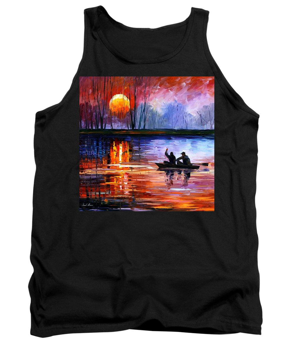 Seascape Tank Top featuring the painting Fishing On The Lake by Leonid Afremov