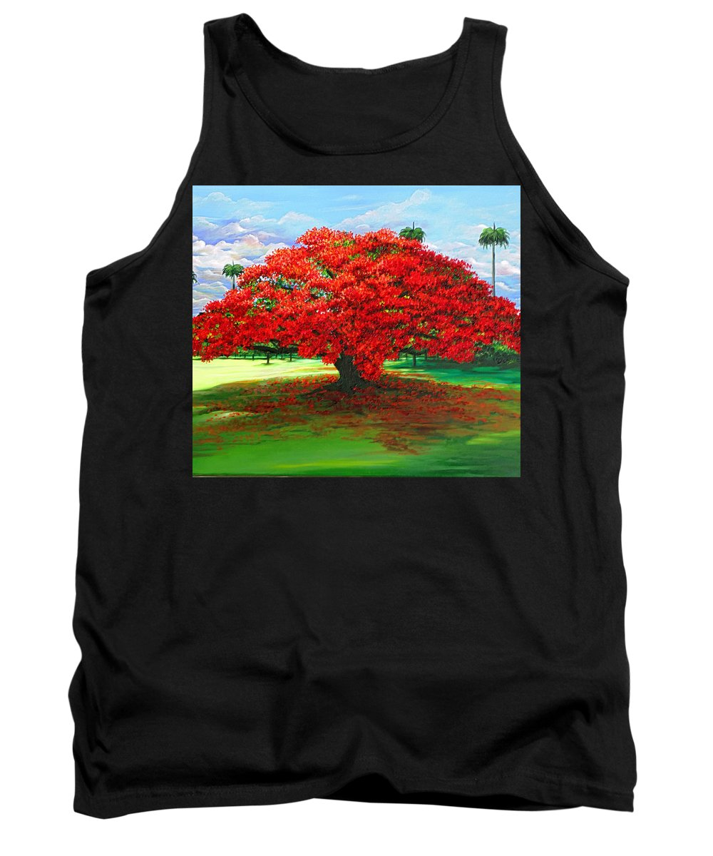 Flamboyant Tree Tank Top featuring the painting Flamboyant Ablaze by Karin Dawn Kelshall- Best