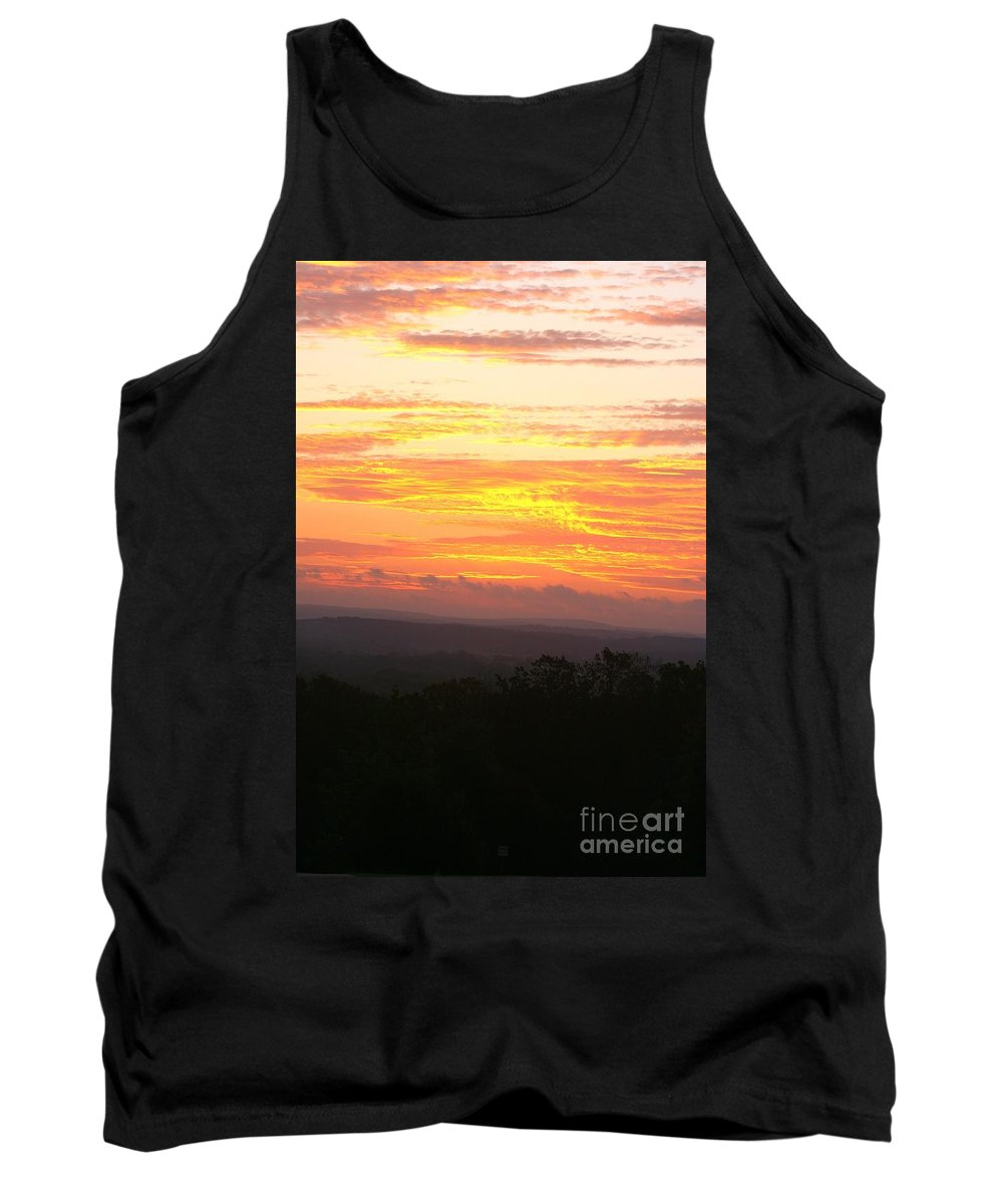 Sunrise Tank Top featuring the photograph Flaming Autumn Sunrise by Nadine Rippelmeyer