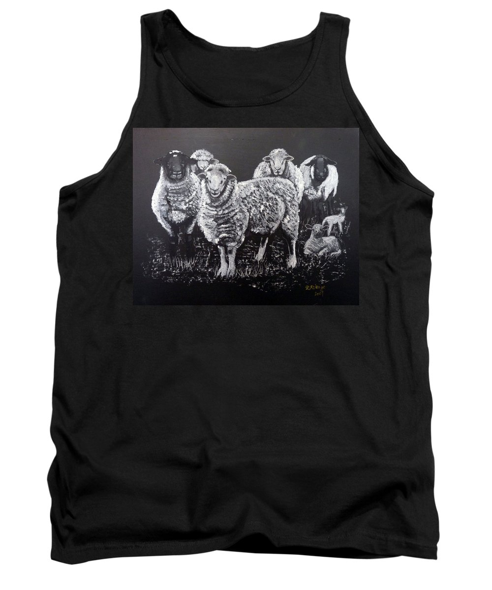 Flock Tank Top featuring the painting Flock Of Sheep by Richard Le Page
