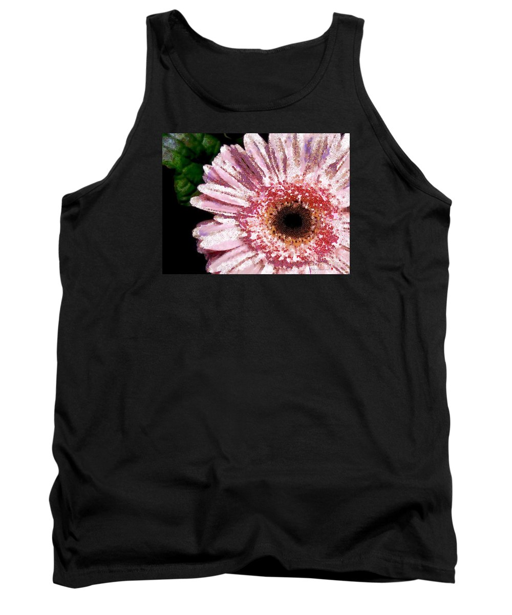Floral Pink Creative Fragmented In Thick Paint Tank Top featuring the painting Floral Pink Creative Fragmented In Thick Paint by Catherine Lott