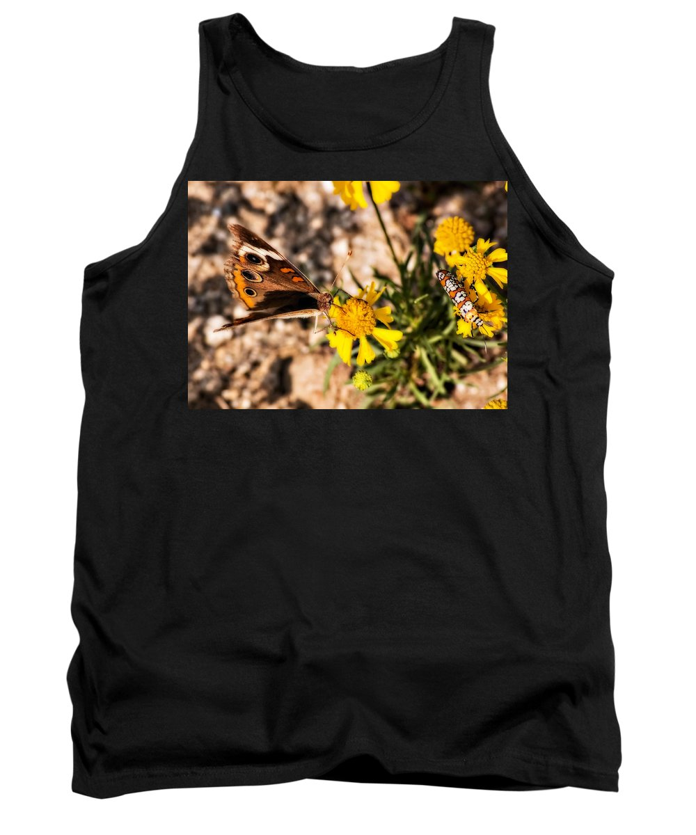 Butterfly Tank Top featuring the photograph Flower Power Bug And Butterfly by Gary Adkins