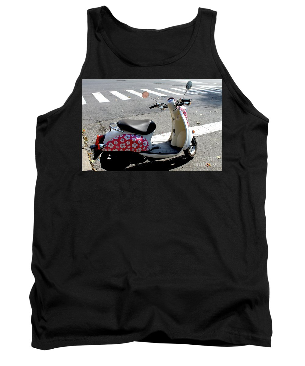 Bike Tank Top featuring the photograph Flower Power For A Montreal Motor Scooter by Nina Silver