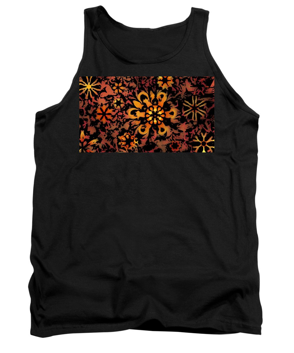 Abstract Digital Painting Tank Top featuring the digital art Flower Woodcut by David Lane