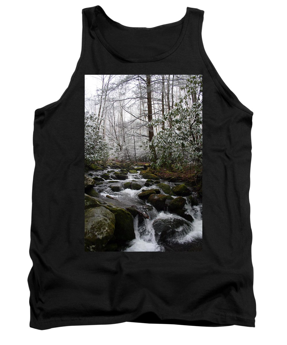 Park Winter Snow White Water Stream Creek Flow River Rock Boulder Tree Green Rush Cold National Tank Top featuring the photograph Flowing by Andrei Shliakhau