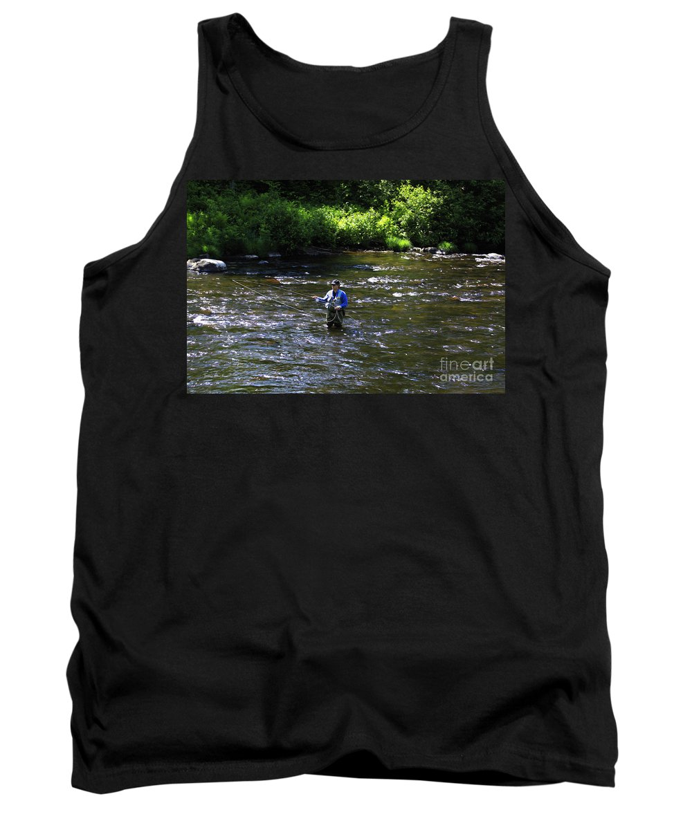 River Tank Top featuring the photograph Fly Fishing In New York by Deborah Benoit