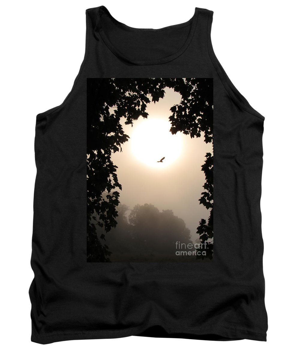 Foliage Border Sunset Foliage Border Silhouetted Landscape Flying Heron Silhouette Aerial Avian Sunrise Heron Flight Natural Panorama Nature Scenes Tranquil Settings Peaceful Prints Natural Landscapes Appalachian Landscapes Polarized Dawn Fog Misty Morning Misty Mountains Misty Forest Cloud Forest Foggy Forest Foggy Foliage Foggy Landscapes Natures Portrait Treescapes Flora Forestscapes Woodland Great Blue Heron Flying Silhouette Wild Birds Of North America Avian Biodiversity Tank Top featuring the photograph Foggy Heron Flight by Joshua Bales