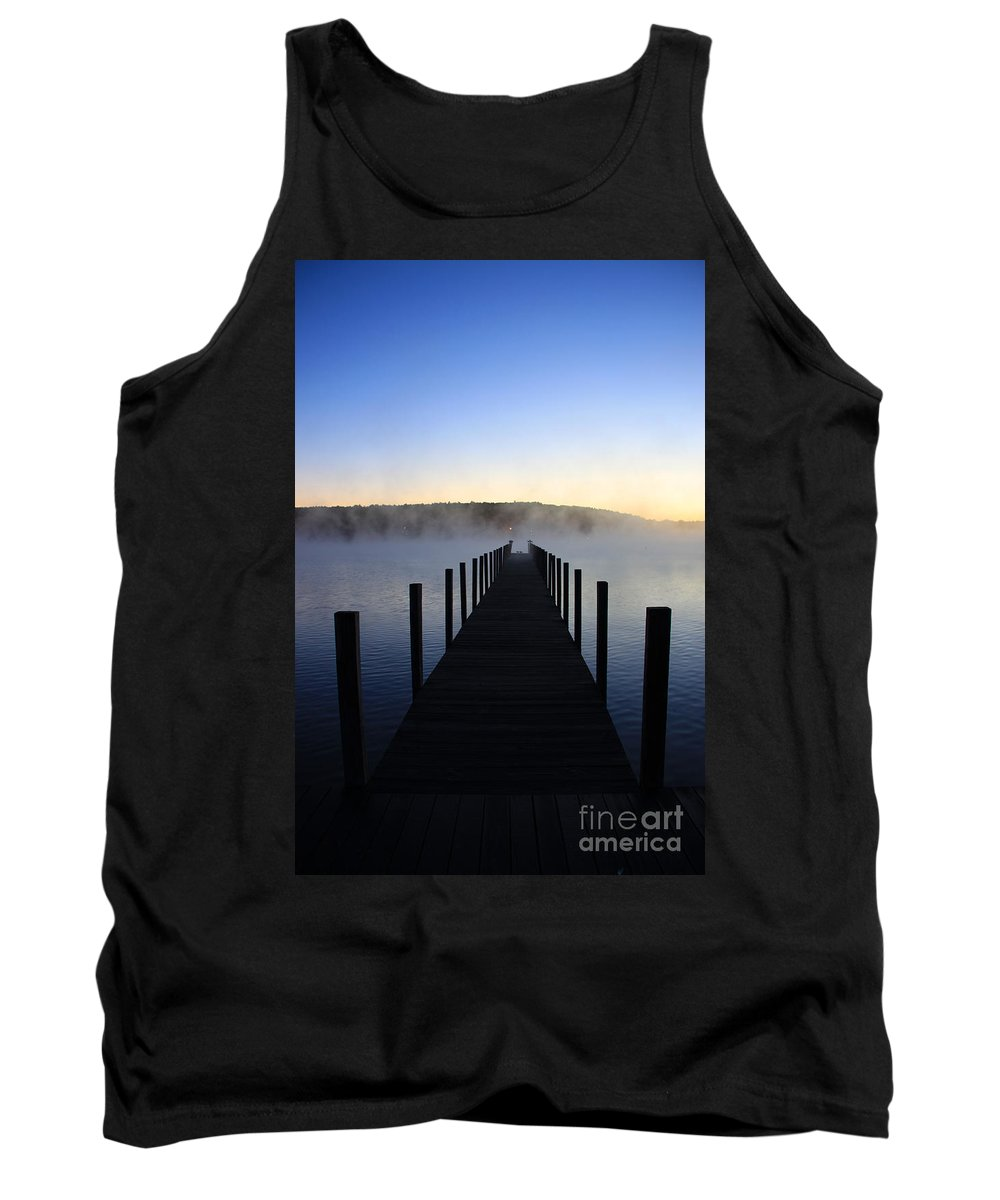 Meredith Nh Tank Top featuring the photograph Foggy Morning Docks 1 by Michael Mooney