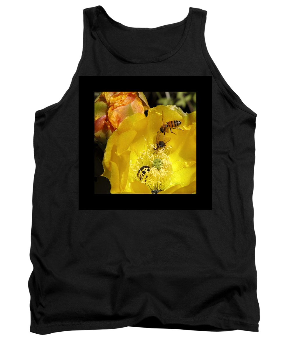 Flower Tank Top featuring the photograph Follow The Buzz by Stephen Anderson