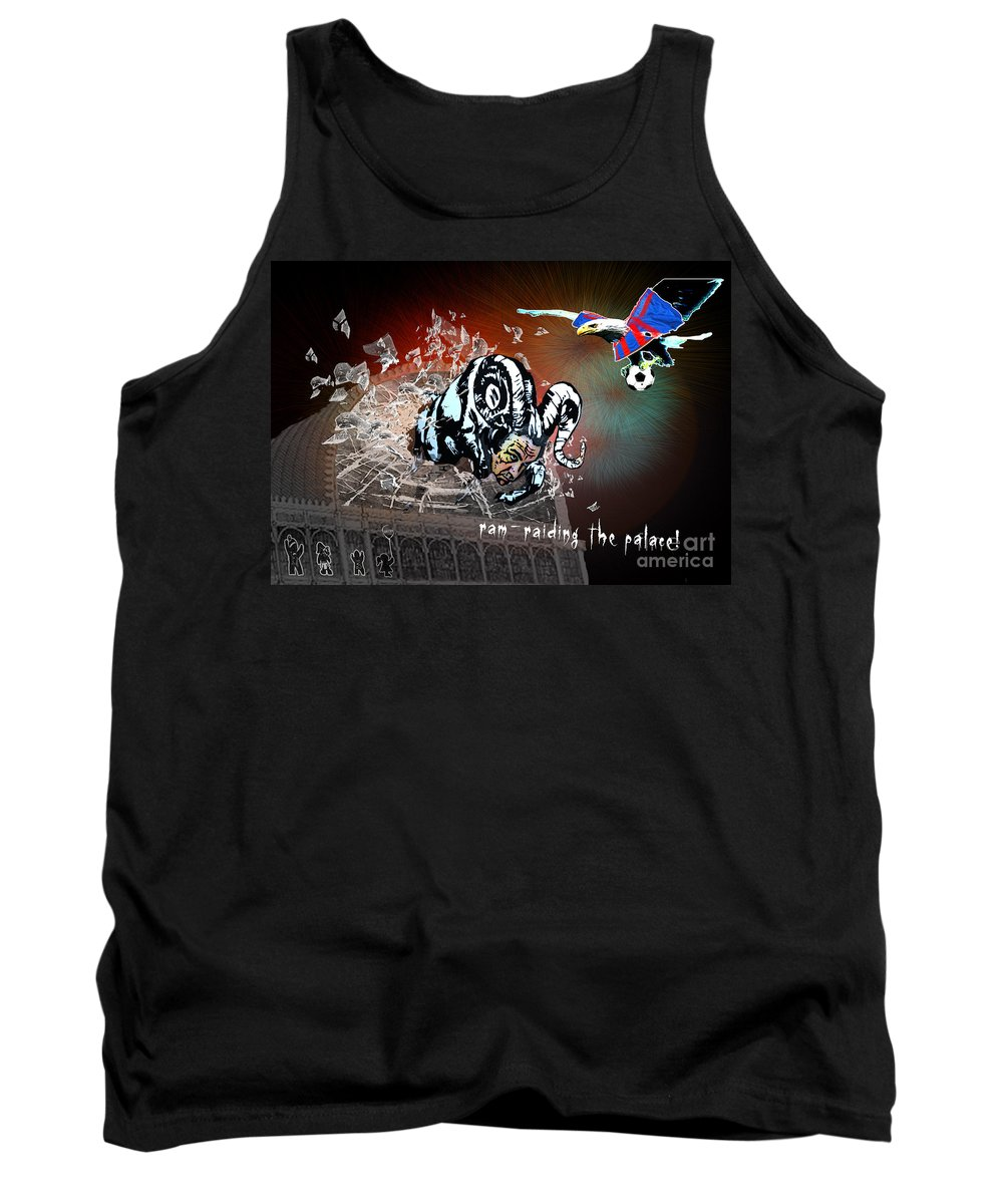 Football Calendar 2009 Derby County Football Club Crystal Palace Artwork Miki Tank Top featuring the painting Football Derby Rams Against Crystal Palace Eagles by Miki De Goodaboom