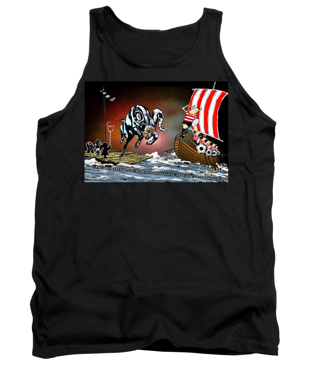 Football Calendar 2009 Derby County Football Club Doncaster Artwork Miki Tank Top featuring the painting Football Derby Rams Against Doncaster Vikings by Miki De Goodaboom