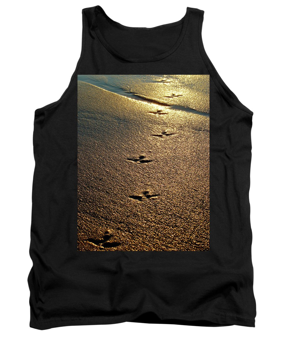 Sand Tank Top featuring the photograph Footprints - Bird by Jill Reger