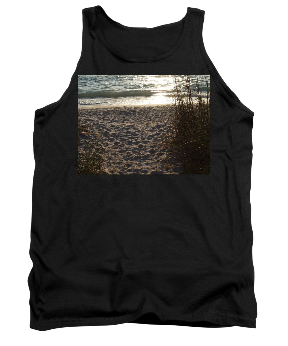 Footprints Tank Top featuring the photograph Footprints In The Dunes by Robert Margetts