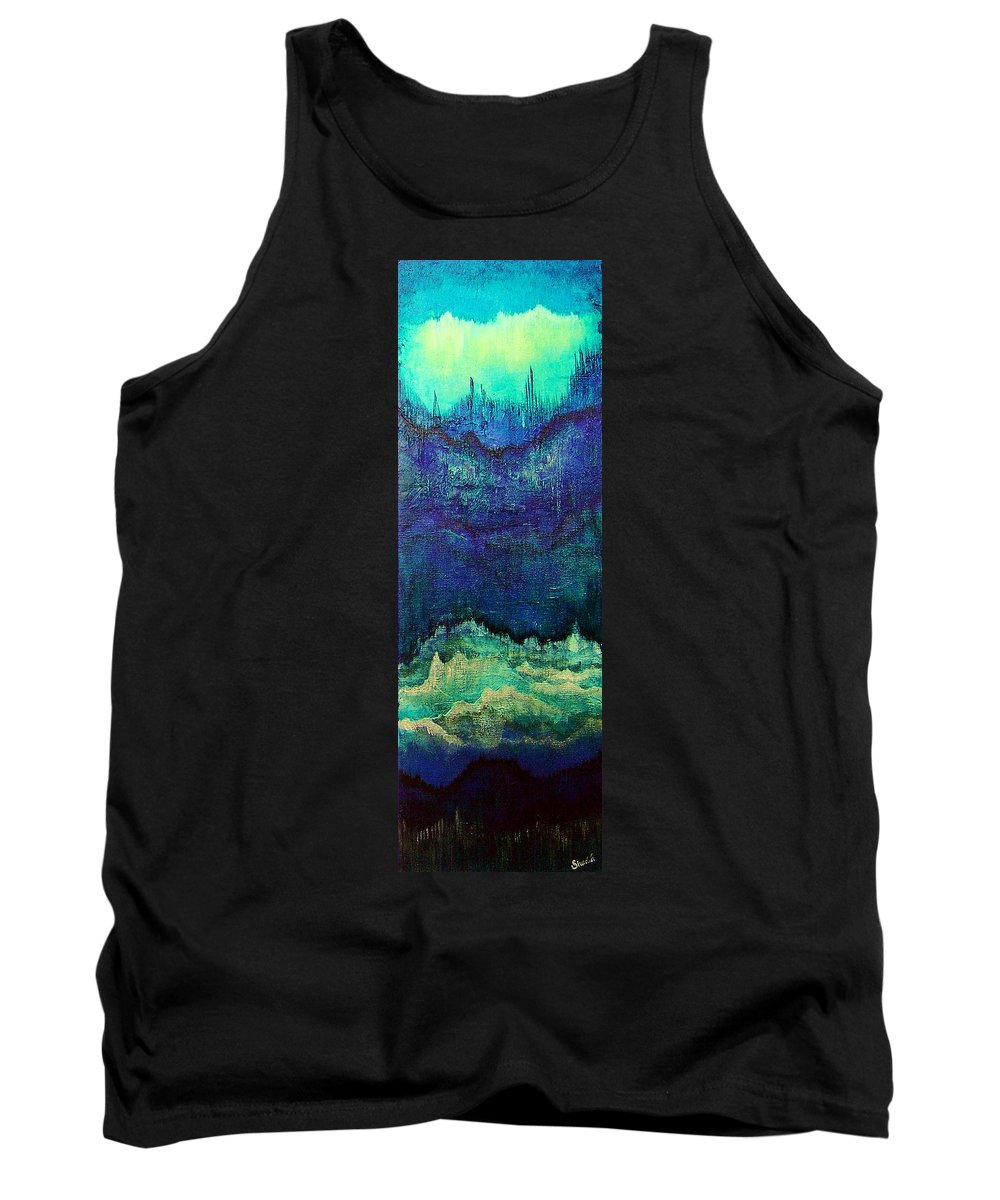 Blue Tank Top featuring the painting For Linda by Shadia Derbyshire