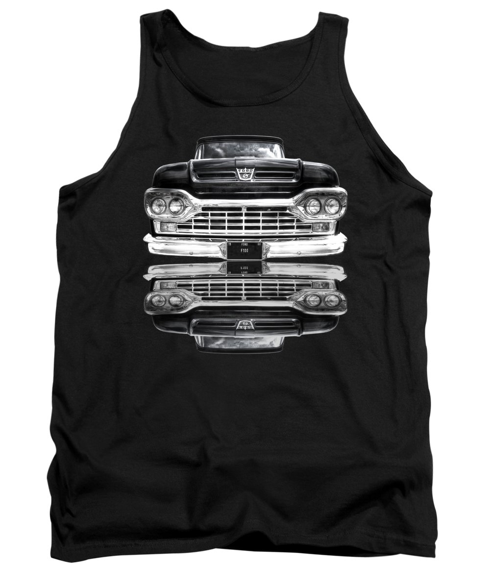 Ford F100 Tank Top featuring the photograph Ford F100 Truck Reflection On Black by Gill Billington