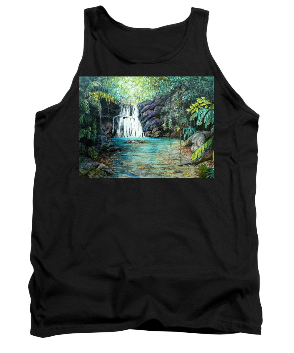 Waterfall Pastel Tank Top featuring the pastel Forest Falls by Karin Dawn Kelshall- Best